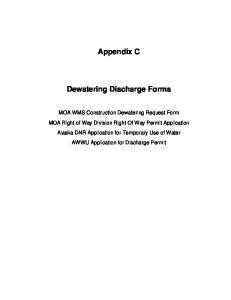 Appendix C Dewatering Discharge Forms