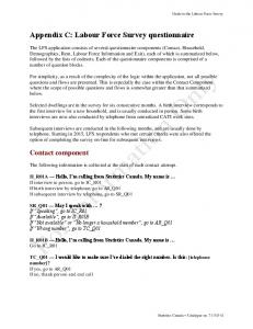 Appendix C: Labour Force Survey questionnaire