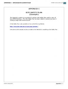 APPENDIX C. SITE SAFETY PLAN (Example)