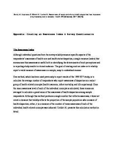 Appendix: Creating an Awareness Index & Survey Questionnaire