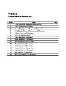 APPENDIX D Example Warranty Specifications