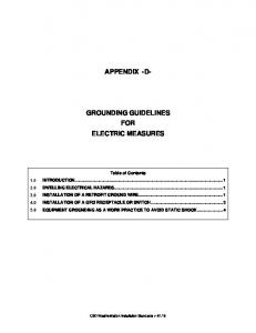 APPENDIX -D- GROUNDING GUIDELINES FOR ELECTRIC MEASURES