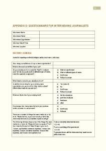 APPENDIX D: QUESTIONNAIRE FOR INTERVIEWING JOURNALISTS