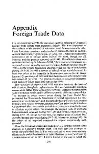 Appendix Foreign Trade Data