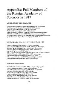 Appendix: Full Members of the Russian Academy of Sciences in 1917