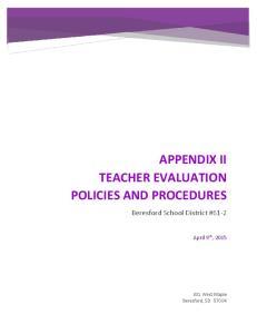 APPENDIX II TEACHER EVALUATION POLICIES AND PROCEDURES
