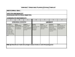 APPENDIX L: OPERATIONAL PLANNING (CENTRAL) TEMPLATE