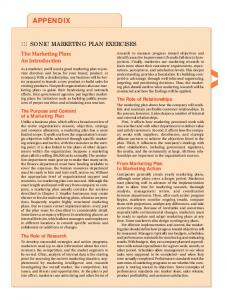 APPENDIX ::: SONIC MARKETING PLAN EXERCISES. The Marketing Plan: An Introduction. The Role of Relationships