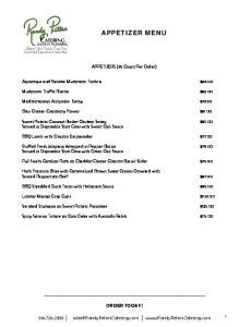 APPETIZER MENU. APPETIZERS (35 Count Per Order) Asparagus and Shitake Mushroom Tartlets $ Mushroom Truffle Risotto $82.00
