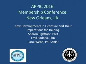 APPIC 2016 Membership Conference New Orleans, LA