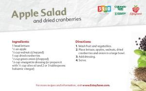 Apple Salad. and dried cranberries. Directions: Ingredients: