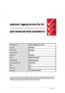 Appliance Tagging Services Pty Ltd SAFE WORK METHOD STATEMENTS