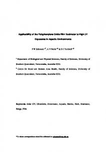 Applicability of the Polyphenylene Oxide Film Dosimeter to High UV. Exposures in Aquatic Environments