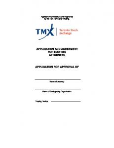 APPLICATION AND AGREEMENT FOR EQUITIES ATTORNEYS APPLICATION FOR APPROVAL OF