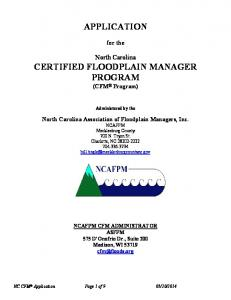 APPLICATION CERTIFIED FLOODPLAIN MANAGER PROGRAM