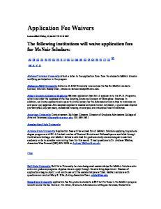 Application Fee Waivers