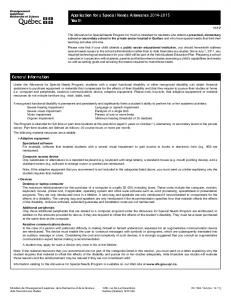 Application for a Special Needs Allowance Youth