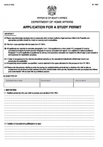 APPLICATION FOR A STUDY PERMIT