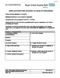 APPLICATION FOR ACCESS TO HEALTH RECORDS