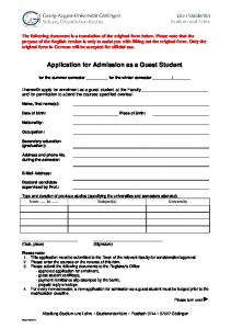 Application for Admission as a Guest Student