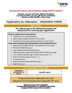 Application for Admission REQUIRED FORMS