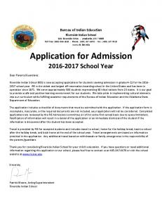 Application for Admission School Year