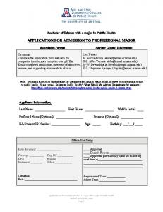 APPLICATION FOR ADMISSION TO PROFESSIONAL MAJOR