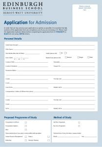 Application for Admission