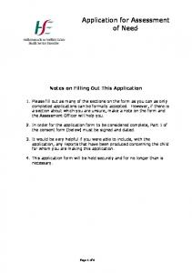 Application for Assessment of Need