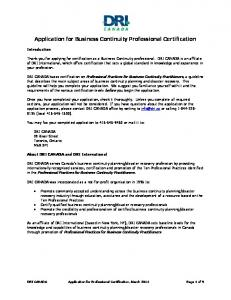 Application for Business Continuity Professional Certification