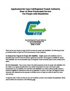 Application for Cape Cod Regional Transit Authority Door-to-Door Paratransit Service For People with Disabilities