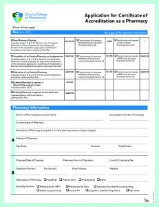 Application for Certificate of Accreditation as a Pharmacy