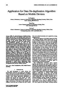 Application for Data De-duplication Algorithm Based on Mobile Devices