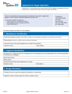 Application for design registration