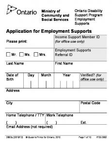 Application for Employment Supports