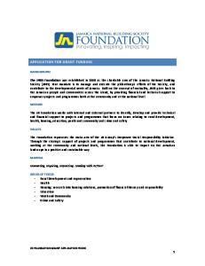 APPLICATION FOR GRANT FUNDING