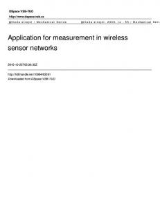Application for measurement in wireless sensor networks