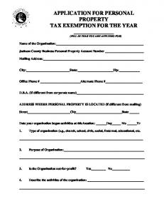 APPLICATION FOR PERSONAL PROPERTY TAX EXEMPTION FOR THE YEAR