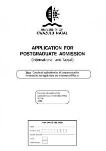 APPLICATION FOR POSTGRADUATE ADMISSION