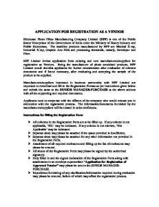 APPLICATION FOR REGISTRATION AS A VENDOR