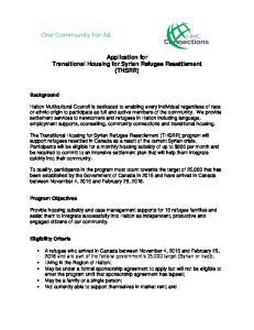 Application for Transitional Housing for Syrian Refugee Resettlement (THSRR)