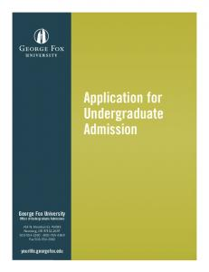 Application for Undergraduate Admission
