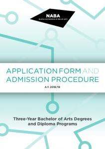 APPLICATION FORM AND ADMISSION PROCEDURE
