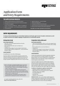 Application Form and Entry Requirements