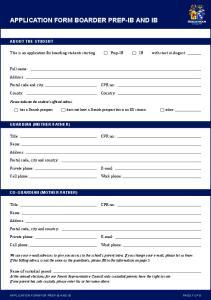 APPLICATION FORM BOARDER PREP-IB AND IB
