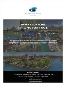 APPLICATION FORM FOR A PDS CERTIFICATE