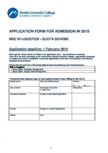 APPLICATION FORM FOR ADMISSION IN 2015