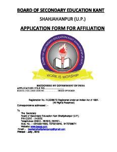 APPLICATION FORM FOR AFFILIATION
