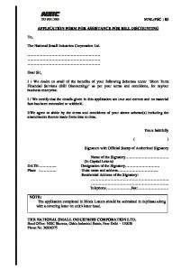 APPLICATION FORM FOR ASSISTANCE FOR BILL DISCOUNTING