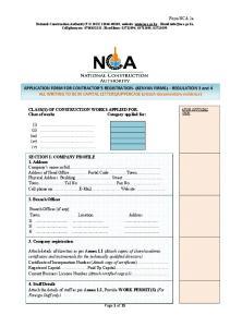 APPLICATION FORM FOR CONTRACTOR S REGISTRATION- (KENYAN FIRMS) REGULATION
